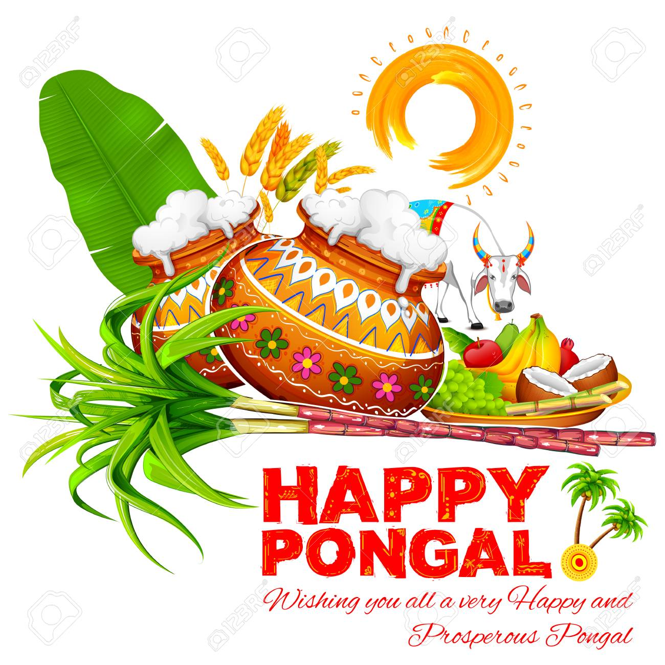 Illustration of happy pongal greeting background royalty free illustration of happy pongal greeting background stock vector 68056261 m4hsunfo