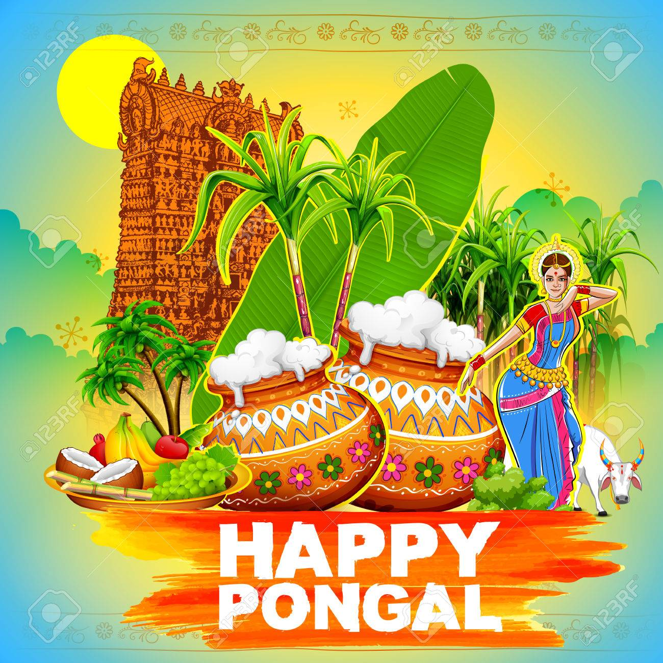 Illustration of happy pongal greeting background royalty free illustration of happy pongal greeting background stock vector 68056258 m4hsunfo