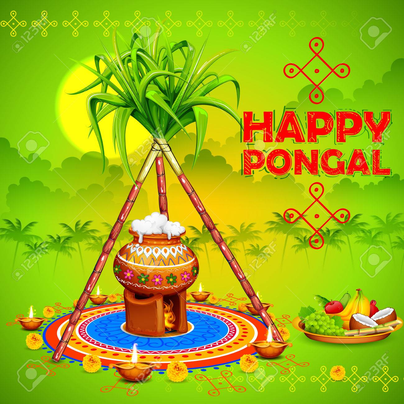 illustration of Happy Pongal greeting background - 68056257