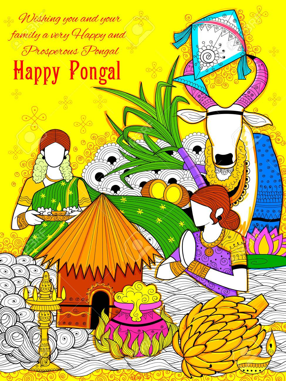 Illustration of happy pongal greeting background royalty free illustration of happy pongal greeting background stock vector 68056887 m4hsunfo