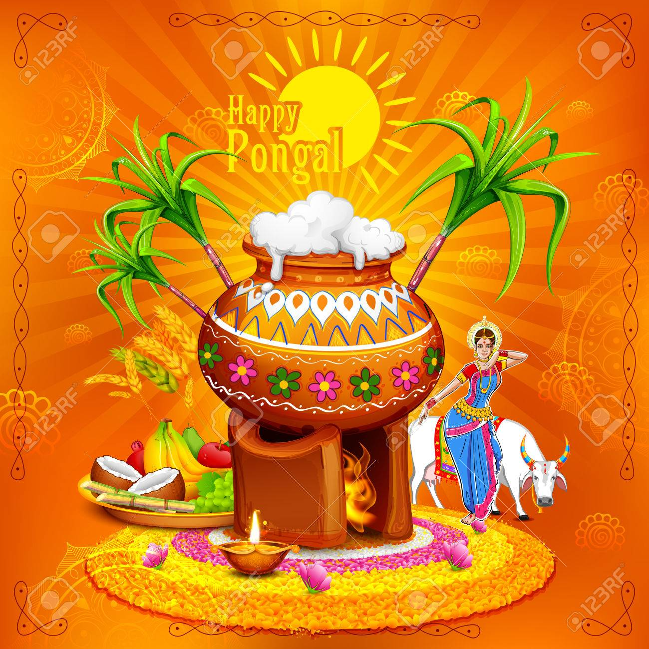 Illustration of happy pongal greeting background royalty free illustration of happy pongal greeting background stock vector 68056891 m4hsunfo