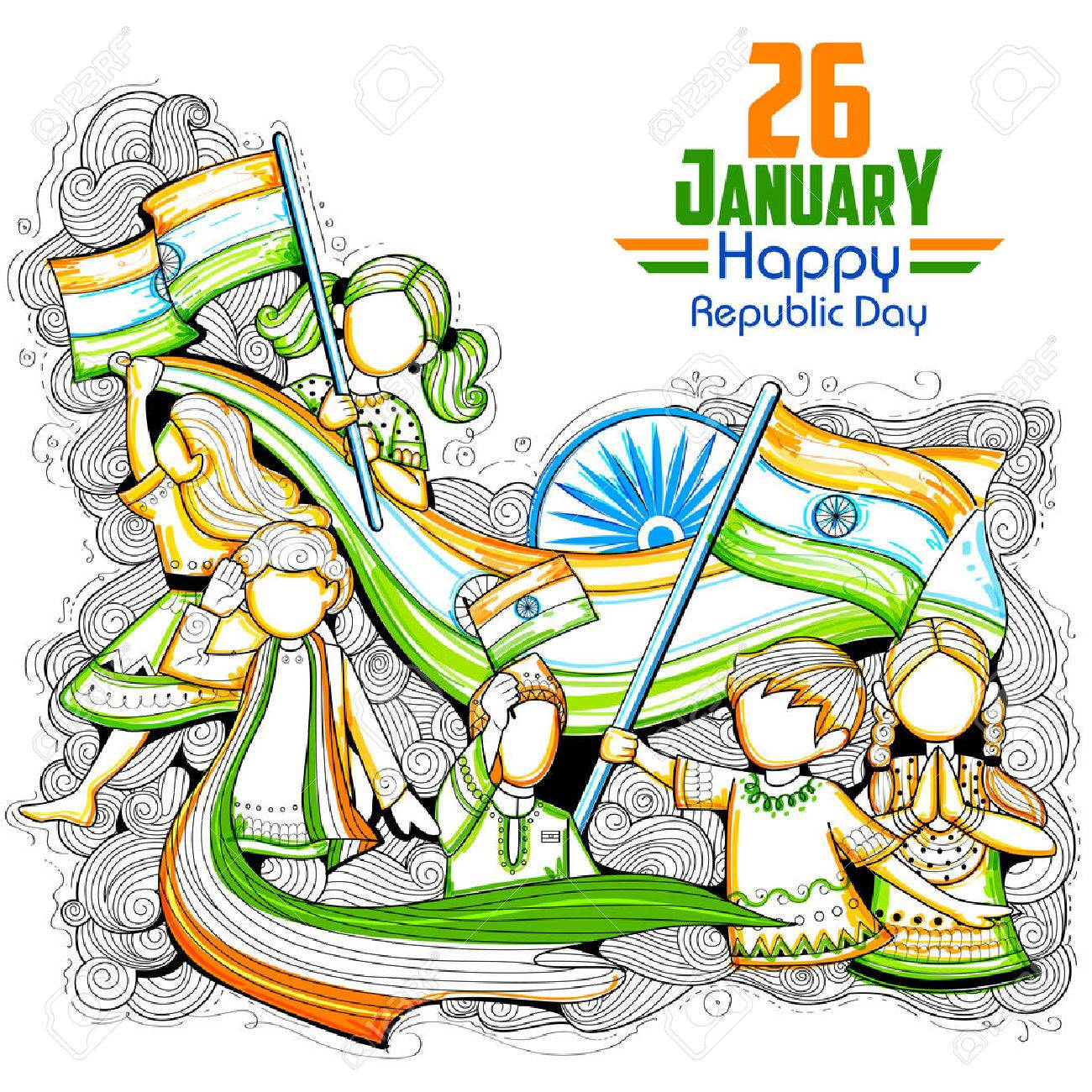 Indian kids waving tricolor flag celebrating Republic Day of India - 69256789
