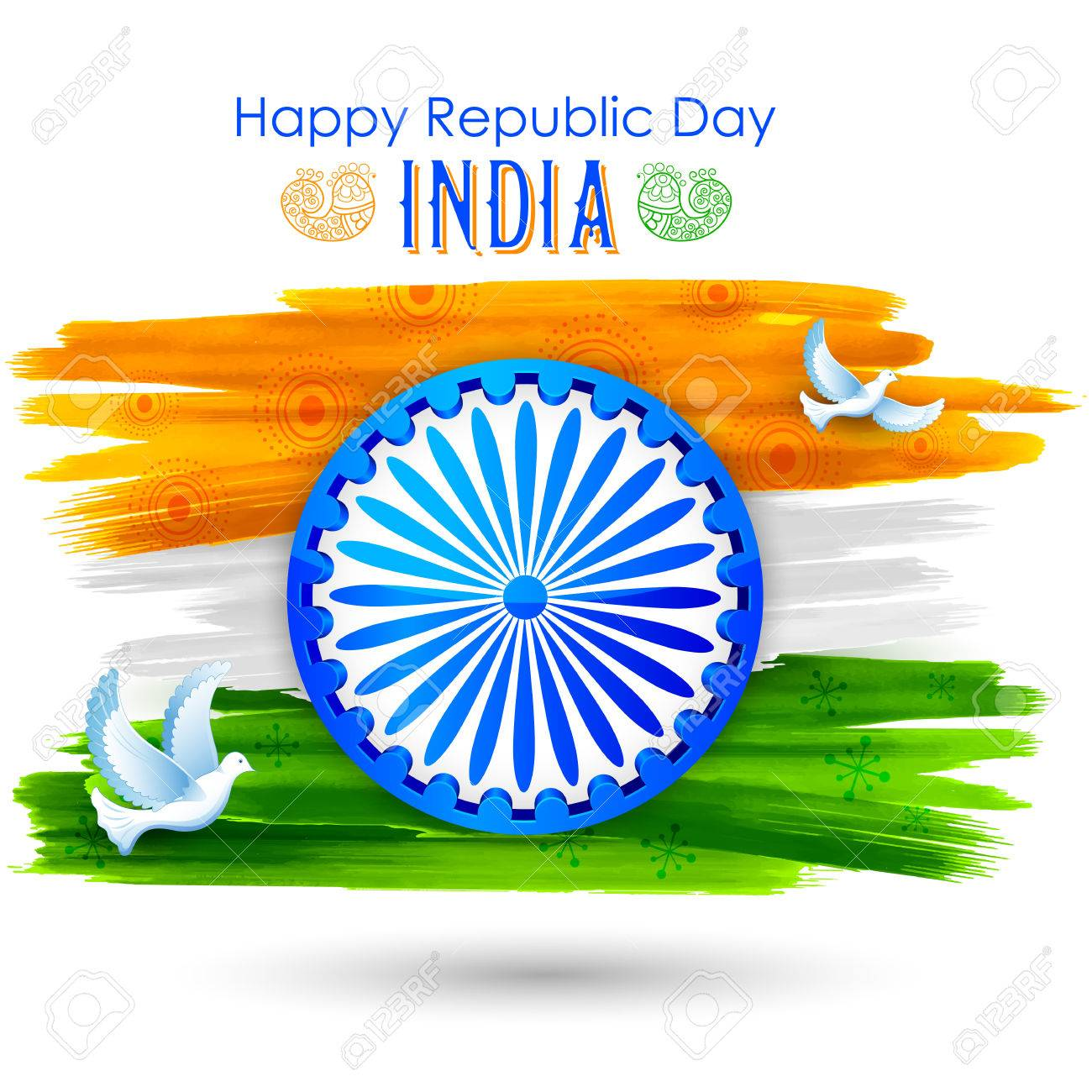 Dove flying with Indian tricolor flag showing peace - 69256983