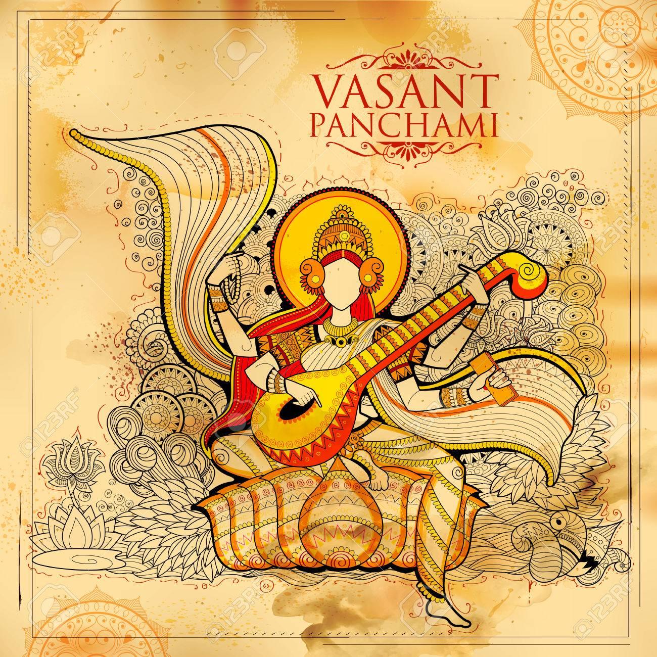 Goddess of Wisdom Saraswati for Vasant Panchami India festival background - 70671193