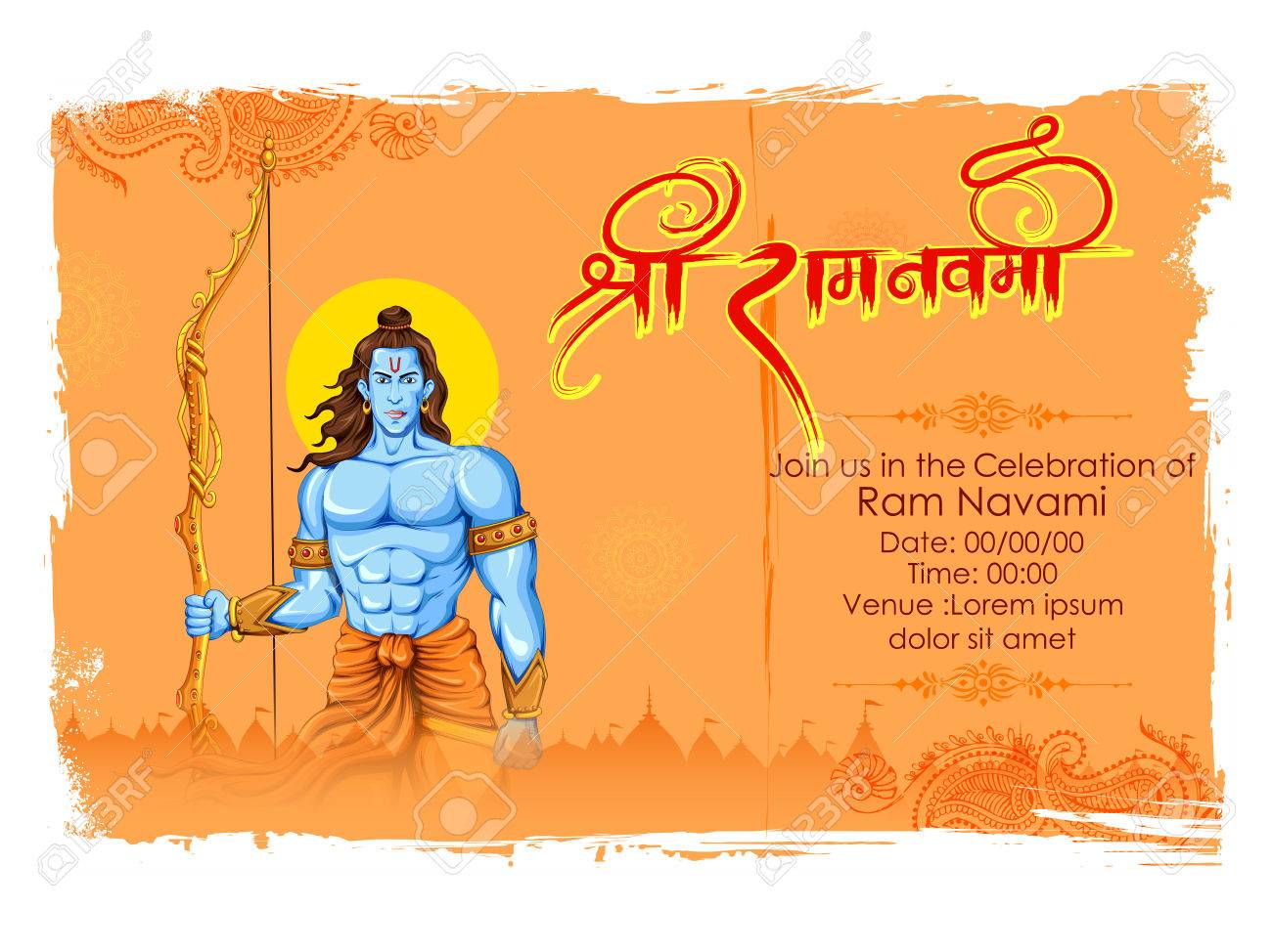 Lord Rama with bow arrow in Ram Navami - 74293132