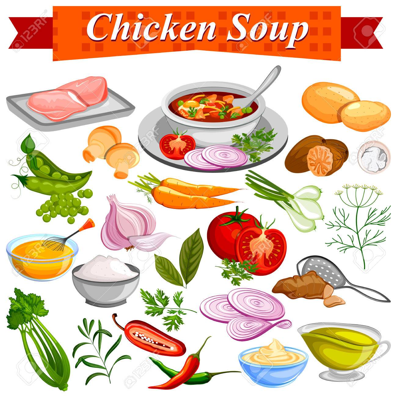 Ingredient for indian chicken soup recipe with vegetable and ingredient for indian chicken soup recipe with vegetable and spices stock vector 75948188 forumfinder Gallery