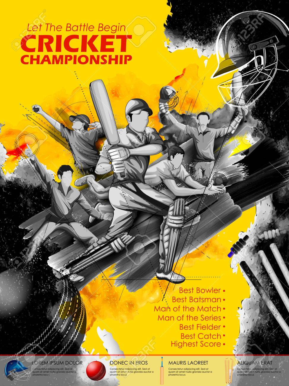 Batsman and bowler playing cricket championship sports. - 76150352