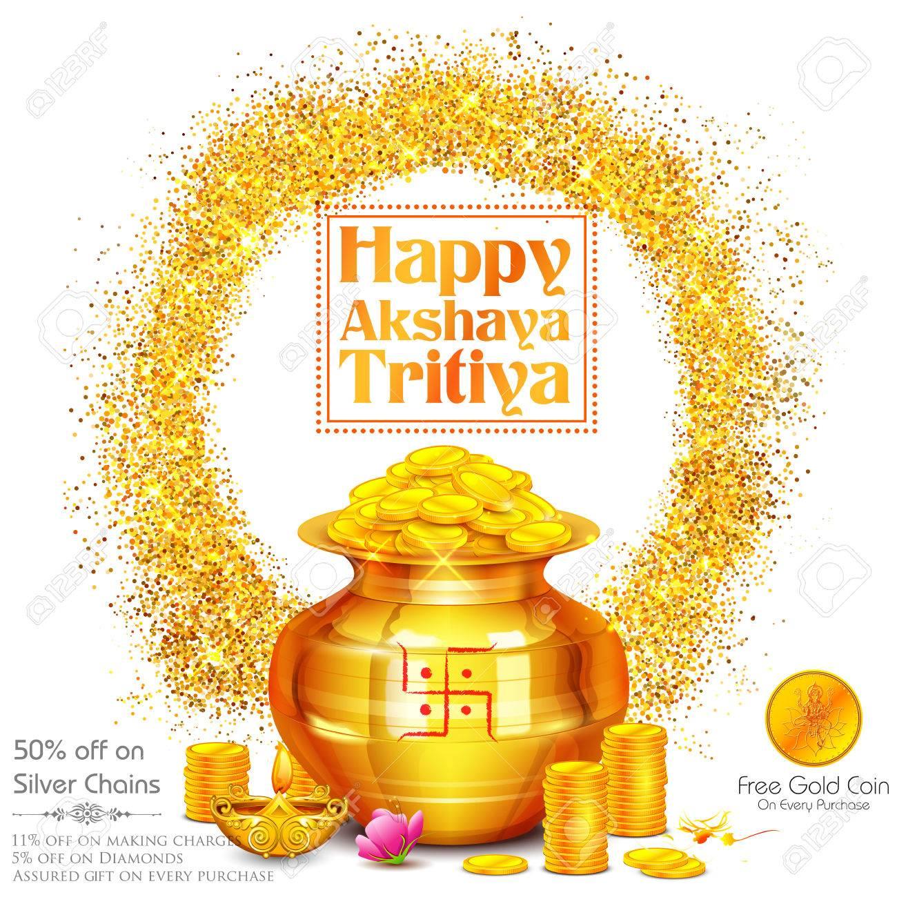 Illustration of background for Happy Akshay Tritiya celebration - 76543372