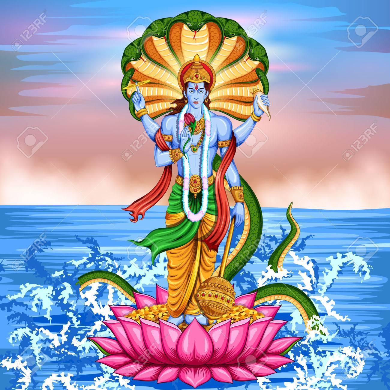 Lord Vishnu standing on lotus giving blessing - 76584849