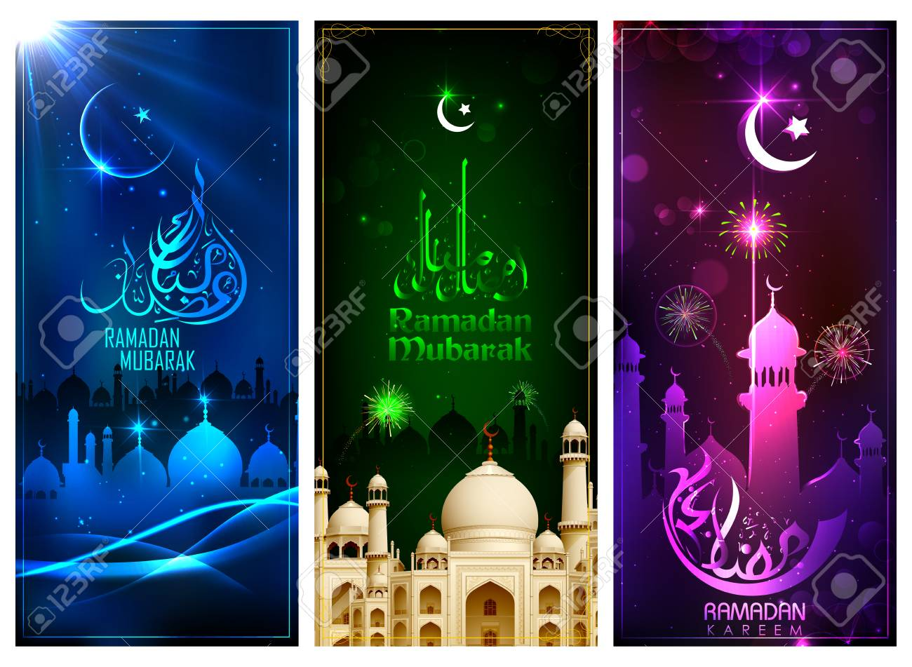 An illustration of banner template for Eid with message in Arabic