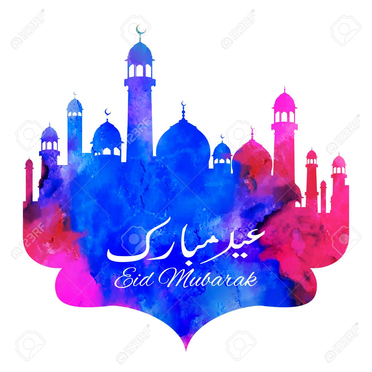Eid Mubarak Happy Eid Greetings With Mosque Royalty Free Cliparts