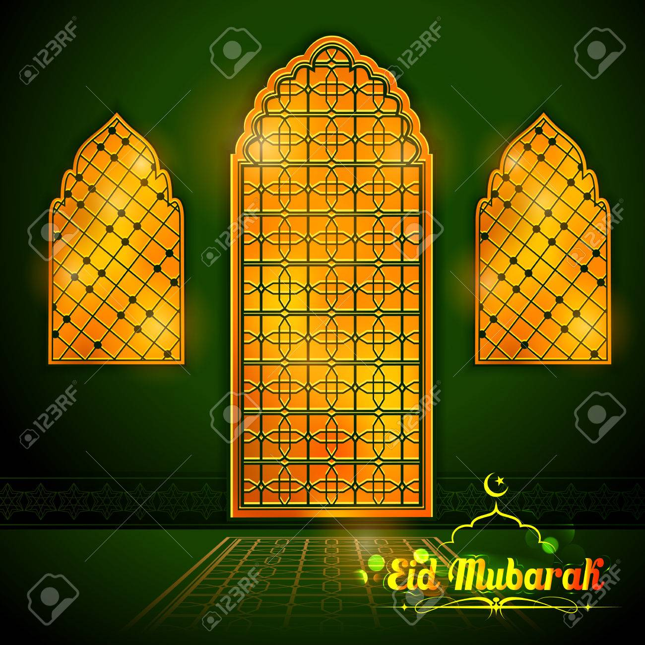 Eid Mubarak Happy Eid Greetings With Arabic Decorated Golden