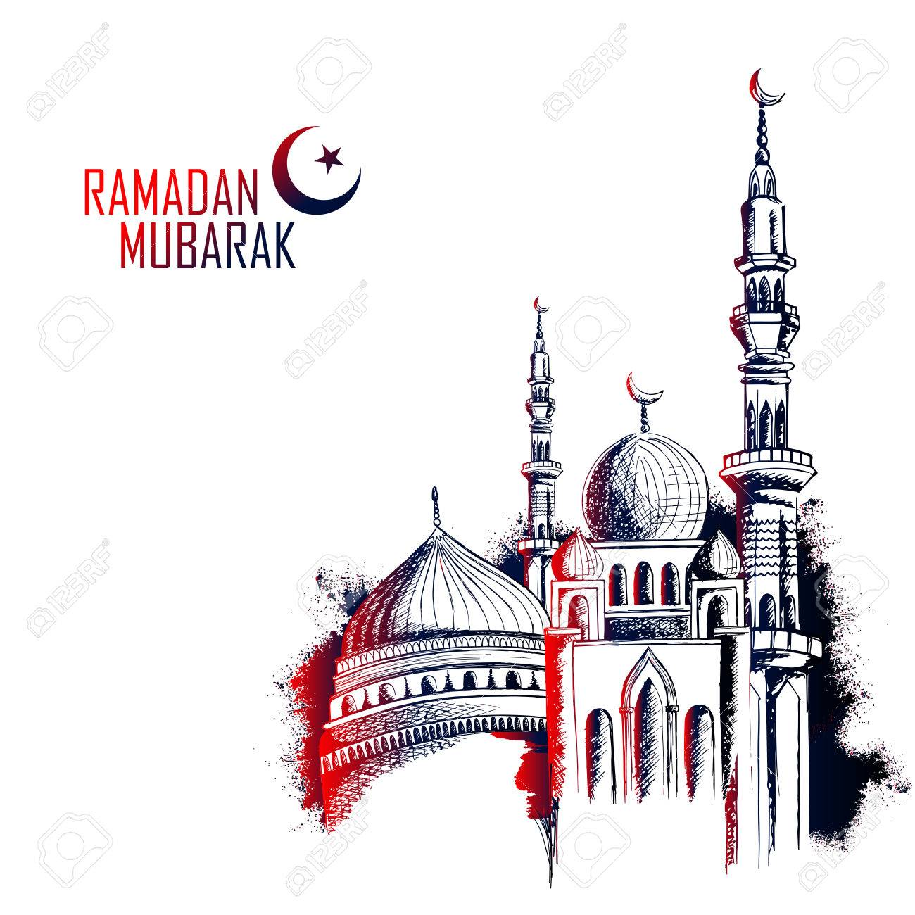 Ramadan Kareem Generous Ramadan greetings in Arabic freehand with mosque - 79575064