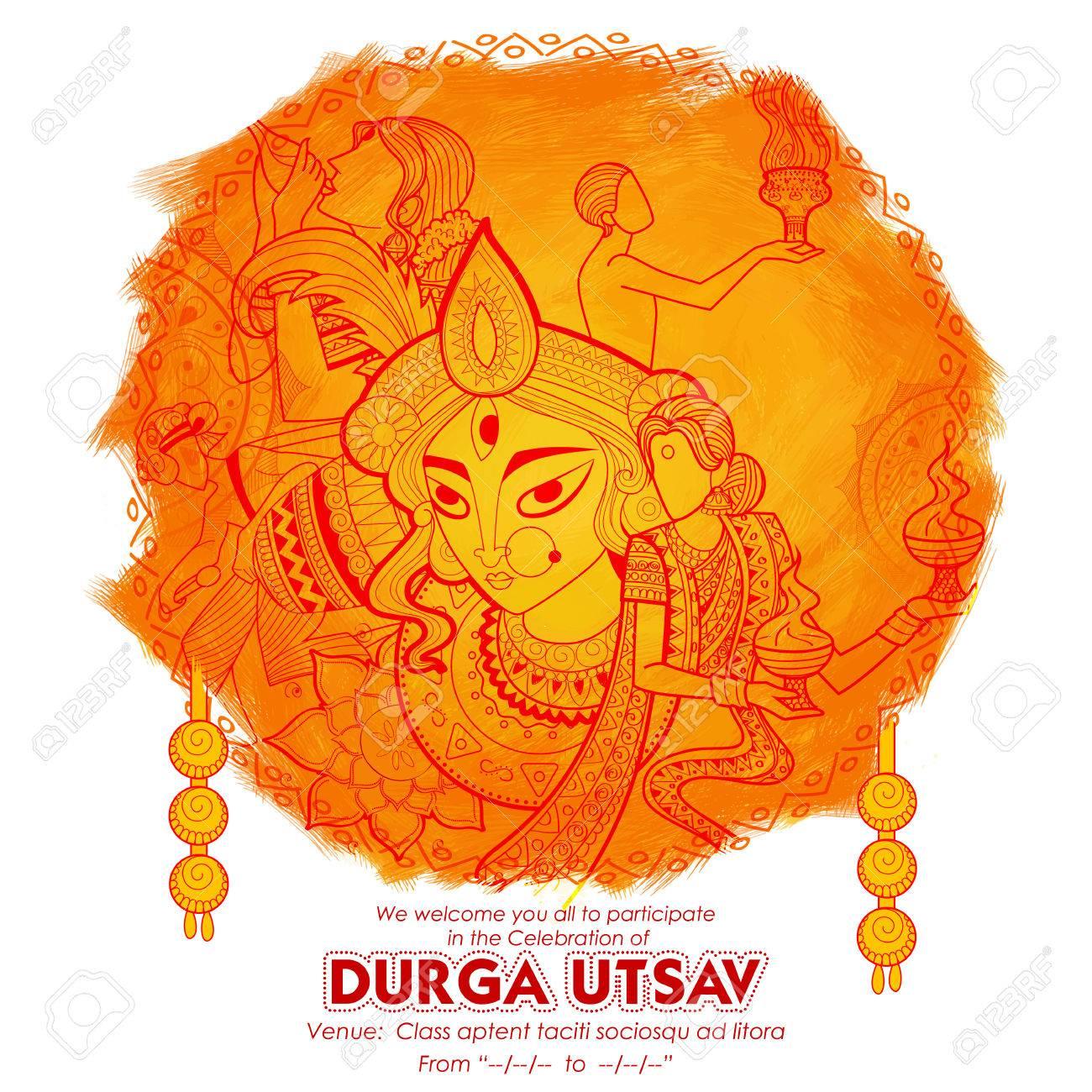 Goddess Durga in Subho Bijoya Happy Dussehra background - 81186540
