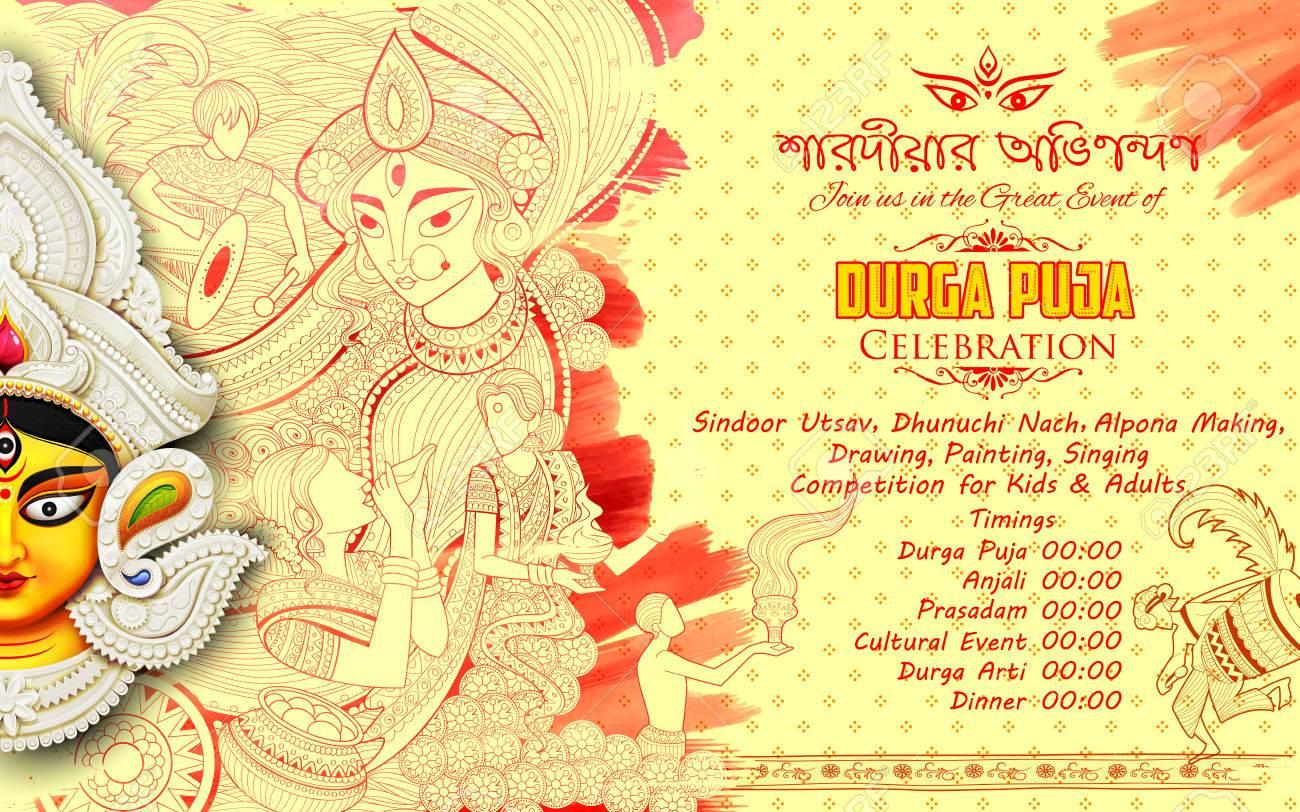 Goddess Durga in Subho Bijoya Happy Dussehra background with