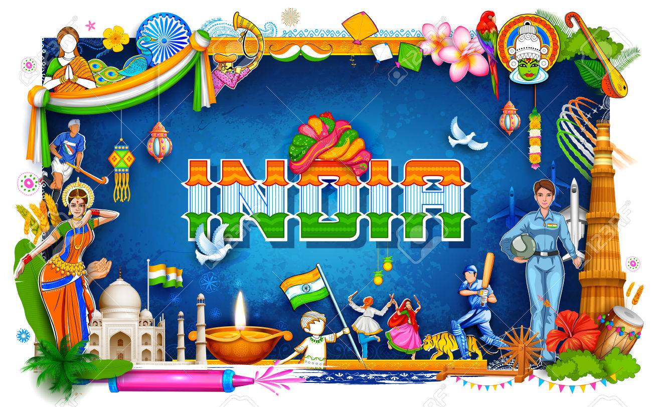 India background showing its incredible culture and diversity with monument, dance festival - 81954569
