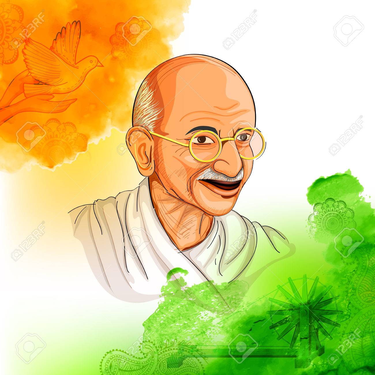Illustration of Tricolor India background with Nation Hero and Freedom Fighter Mahatma Gandhi for Independence Day or Gandhi Jayanti - 82517659