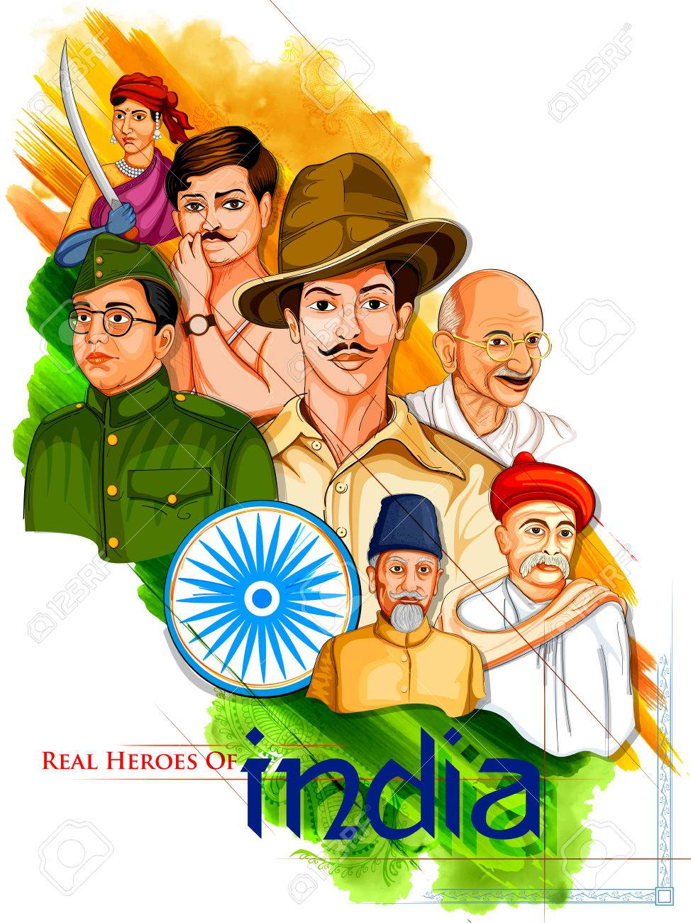 Illustration of Tricolor India background with Nation Hero and Freedom Fighter like Mahatma Gandhi, Bhagat Singh, Subhash Chandra Bose for Independence Day - 82518201