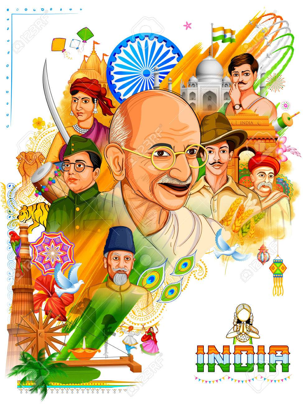Illustration of Tricolor India background with Nation Hero and Freedom Fighter like Mahatma Gandhi, Bhagat Singh, Subhash Chandra Bose for Independence Day - 82518202