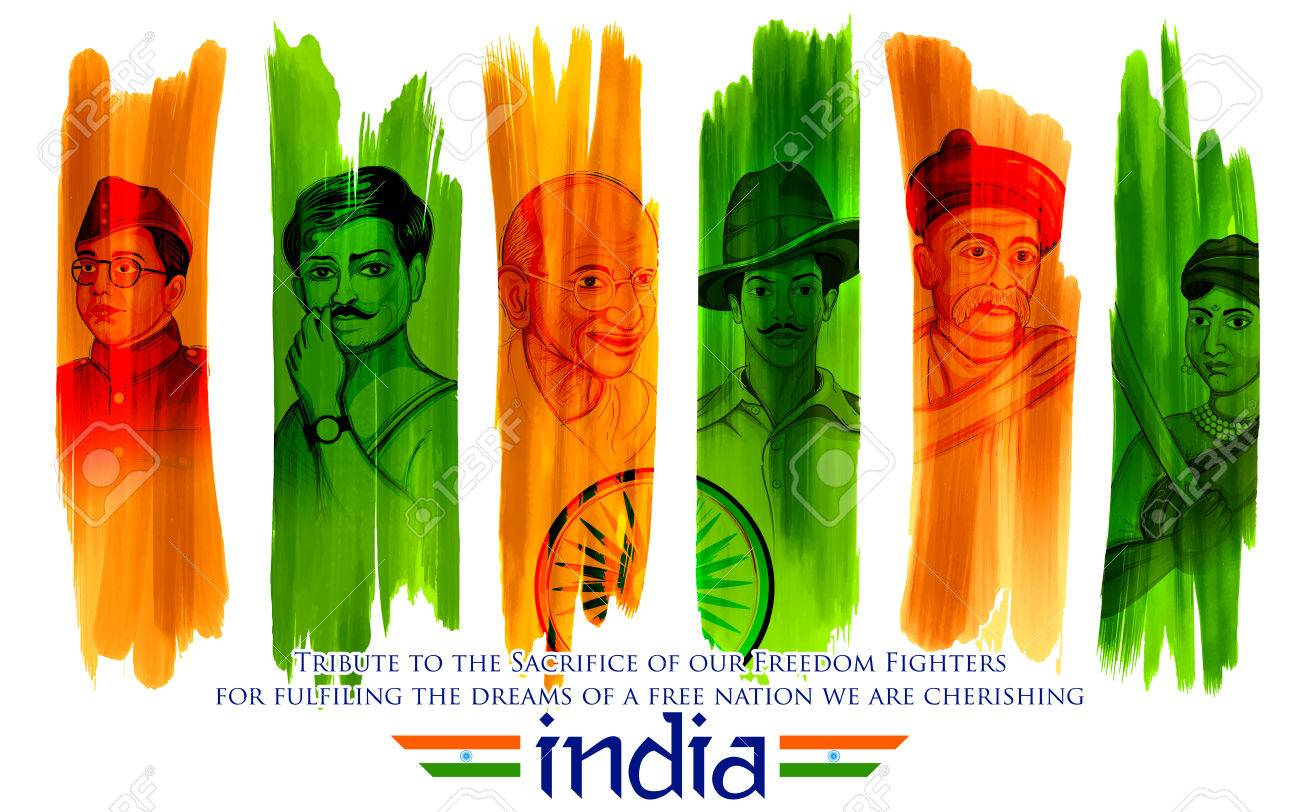 Illustration of Tricolor India background with Nation Hero and Freedom Fighter like Mahatma Gandhi, Bhagat Singh, Subhash Chandra Bose for Independence Day - 82518204