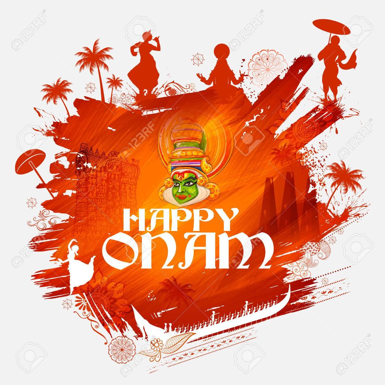 Kathakali dancer on for Happy Onam festival of South India Kerala - 84364740