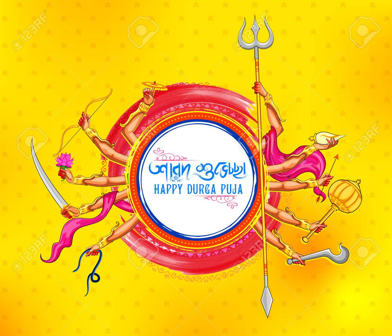 illustration of Goddess Durga in Happy Dussehra background with bengali text Sharod Shubhechha meaning Autumn greetings - 85536940