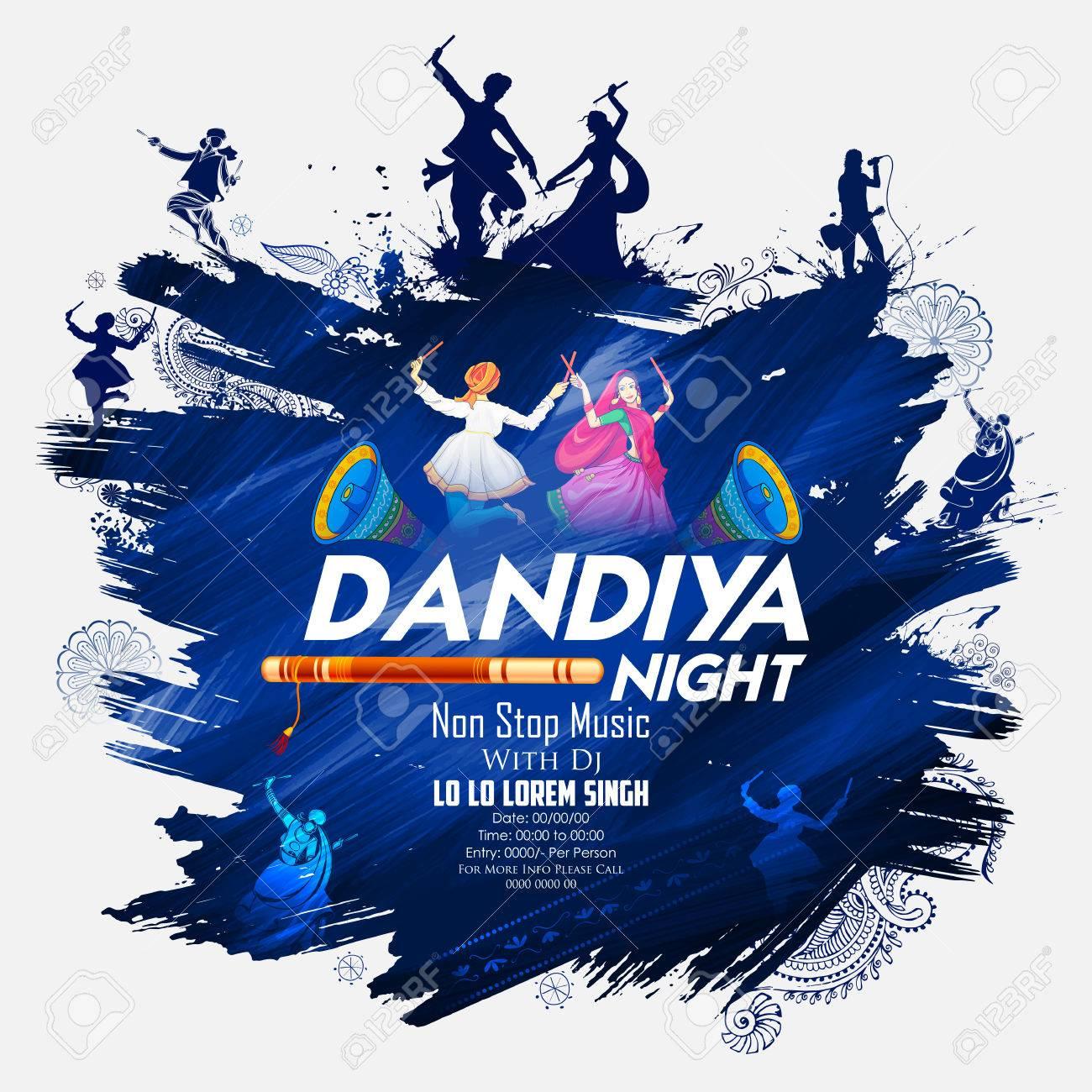 Couple playing Dandiya in disco, Garba Night poster - 86158407