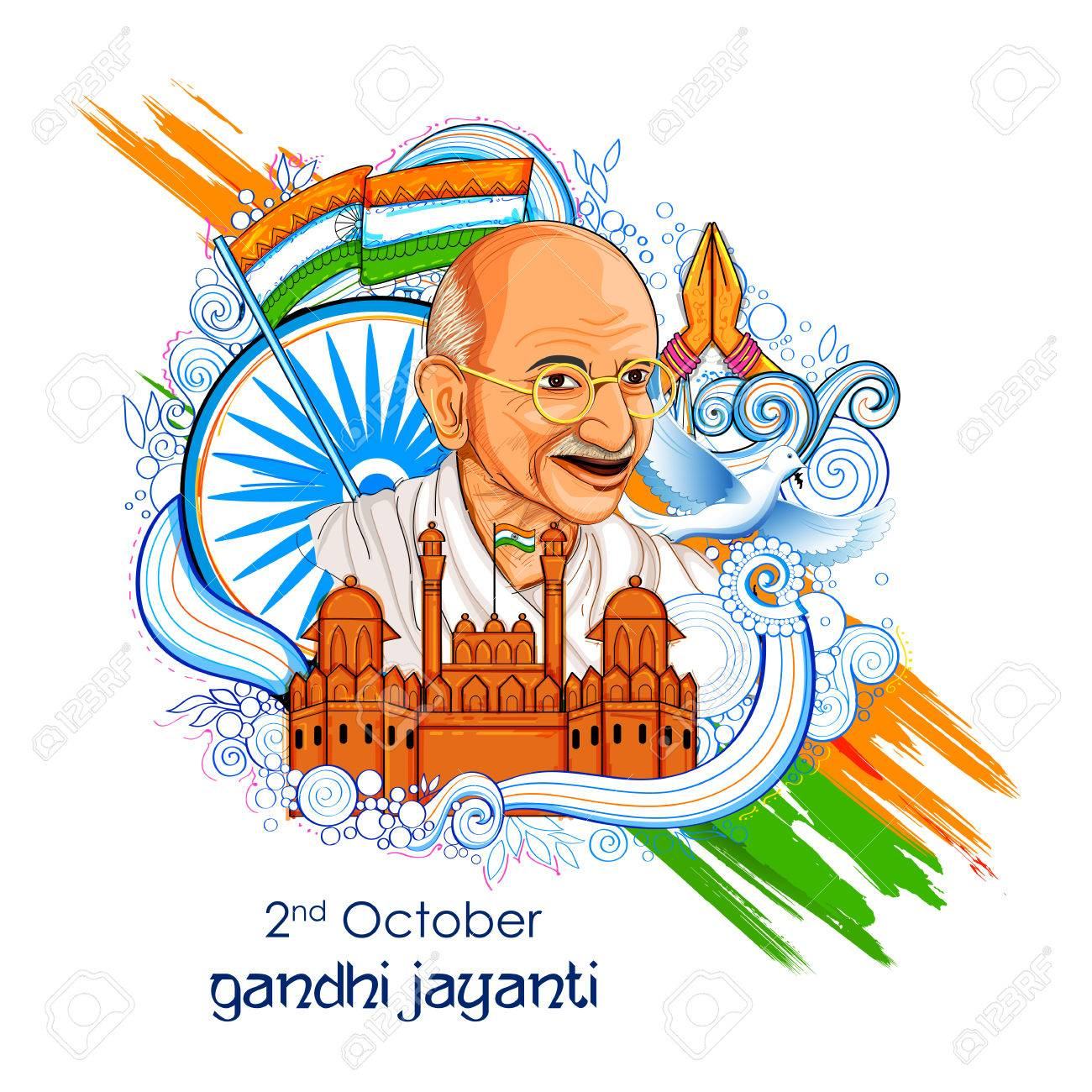 illustration of India background for 2nd October Gandhi Jayanti