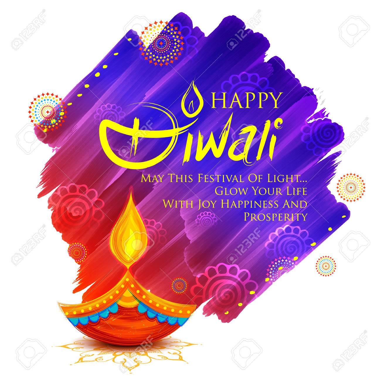 illustration of burning diya on Happy Diwali Holiday background for light festival of India - 86925967