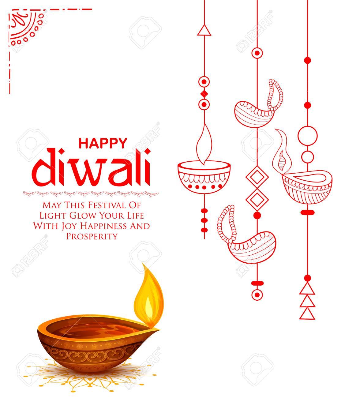 Burning diya on Happy Diwali Holiday background for light festival of India - 87205707