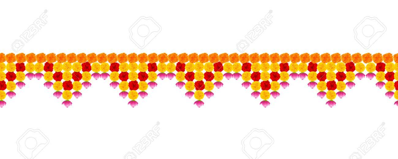 illustration of Flower garland decoration toran for Happy Diwali Holiday background - 87576941