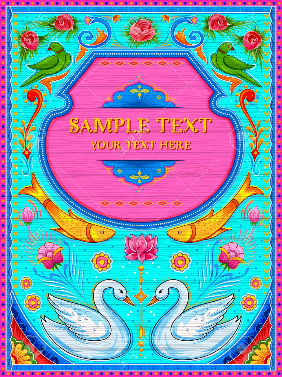 Colorful welcome banner in truck art kitsch style of India - 89983452