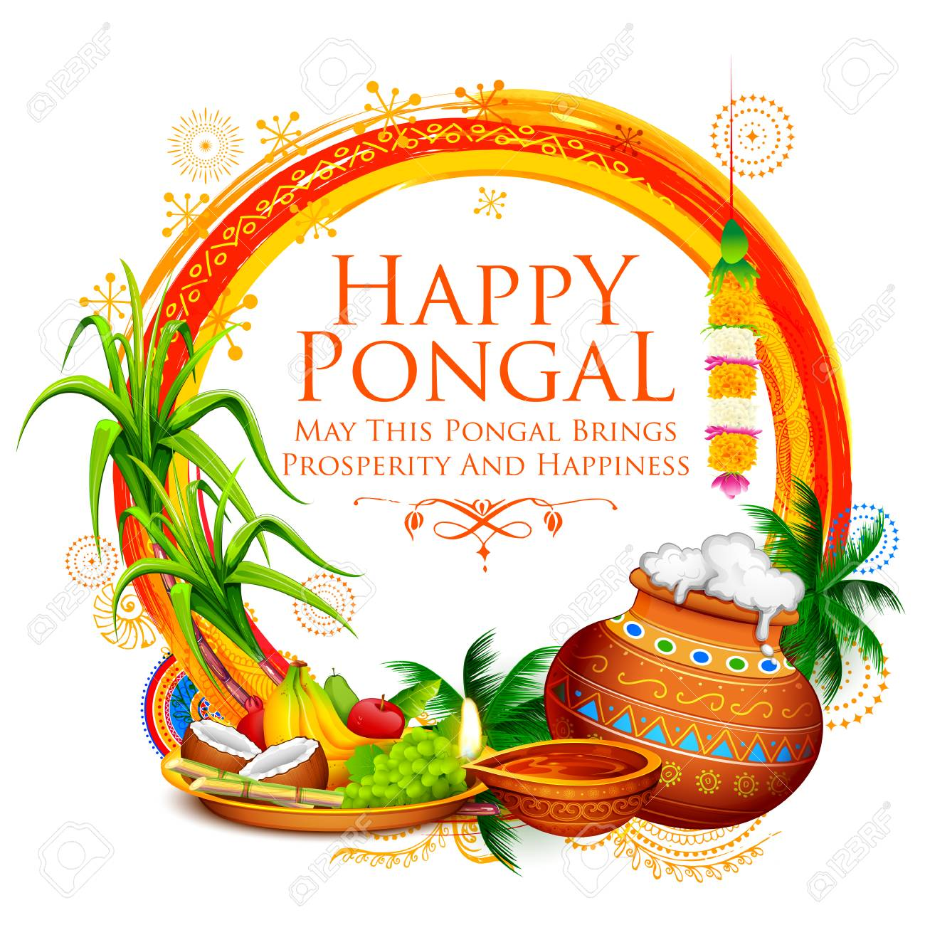 Happy Pongal holiday harvest festival of Tamil Nadu, South India greeting background. - 90909959