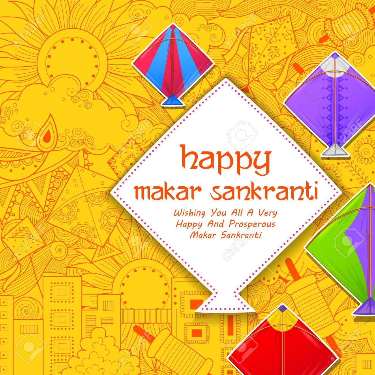 Happy Makar Sankranti wallpaper with colorful kite string for festival of India - 91805142