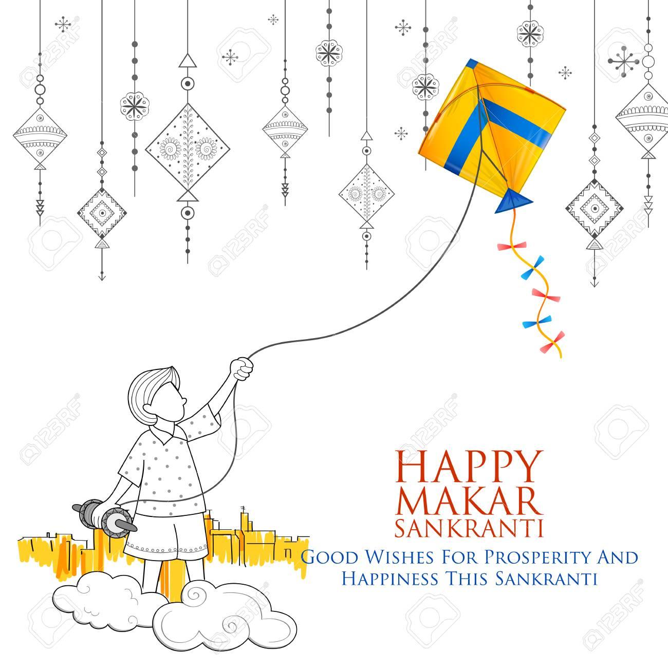 Happy Makar Sankranti wallpaper with colorful kite string for festival of India - 91805153