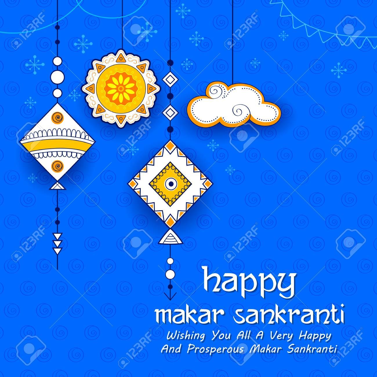 Happy Makar Sankranti wallpaper with colorful kite string for festival of India - 91805232