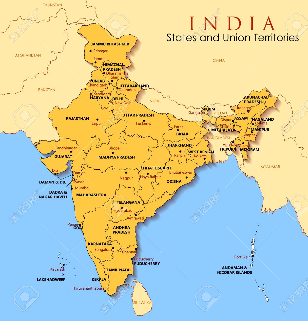 Map Of Asia India.Detailed Map Of India Asia With All States And Country Boundary