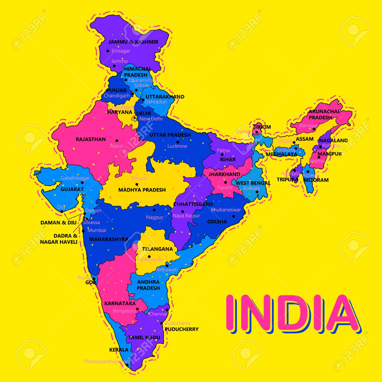 Carte Asie Inde.Carte Detaillee De L Inde De L Asie Avec Tous Les Etats Et Limites Du Pays