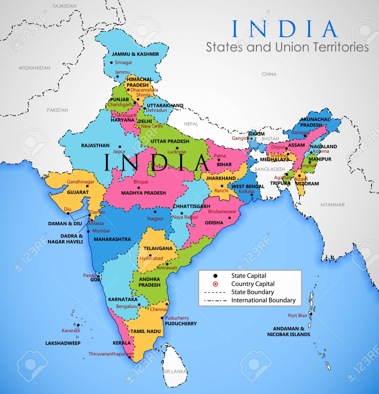 Detailed map of India, Asia with all states and country boundary on india bali map, india se, india map usa, india russia map, india on map, india yellow river map, india south asia, india continent map, india australia map, india heart map, india europe map, india region map, india population growth map, india in asia, mughal empire india map, tohoku japan earthquake 2011 map, india mongol empire map, india iran map, india and surrounding country map, africa map,
