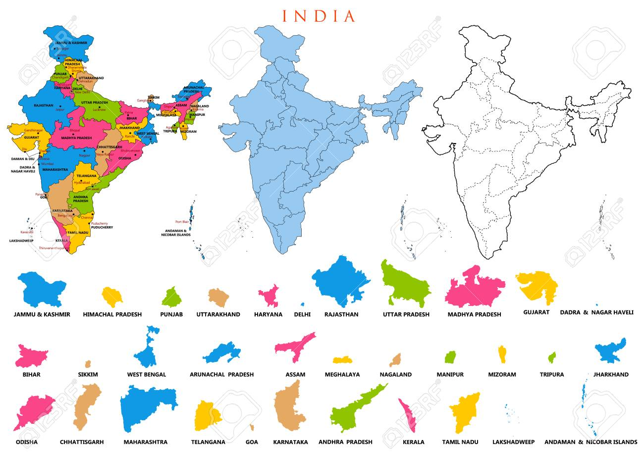 India Map With All States.Detailed Map Of India Asia With All States And Country Boundary
