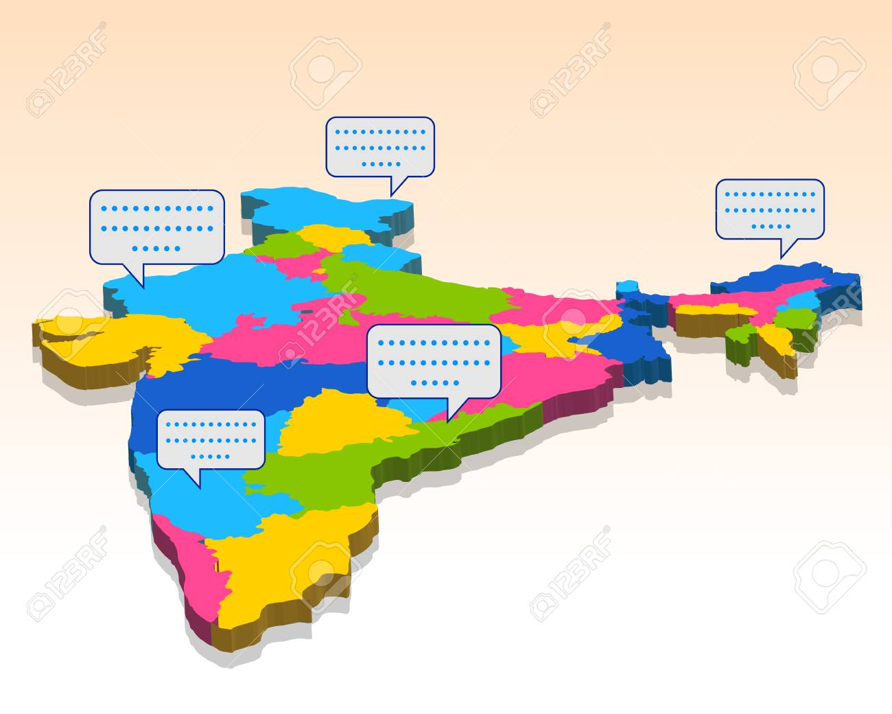Detailed 3d map of India, Asia with all states and country boundary