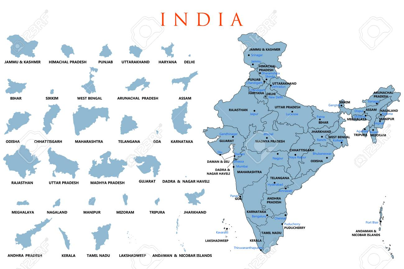 India In Asia Map.Detailed Map Of India Asia With All States And Country Boundary
