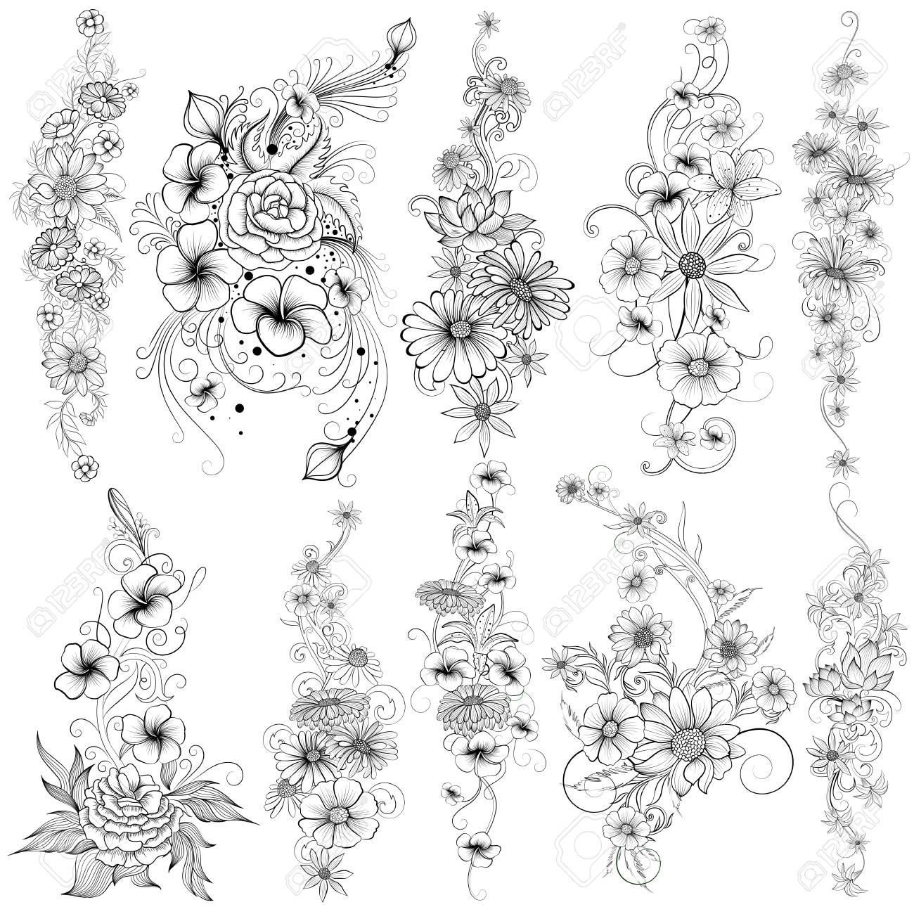 Tattoo art design of floral flower collection - 92579757