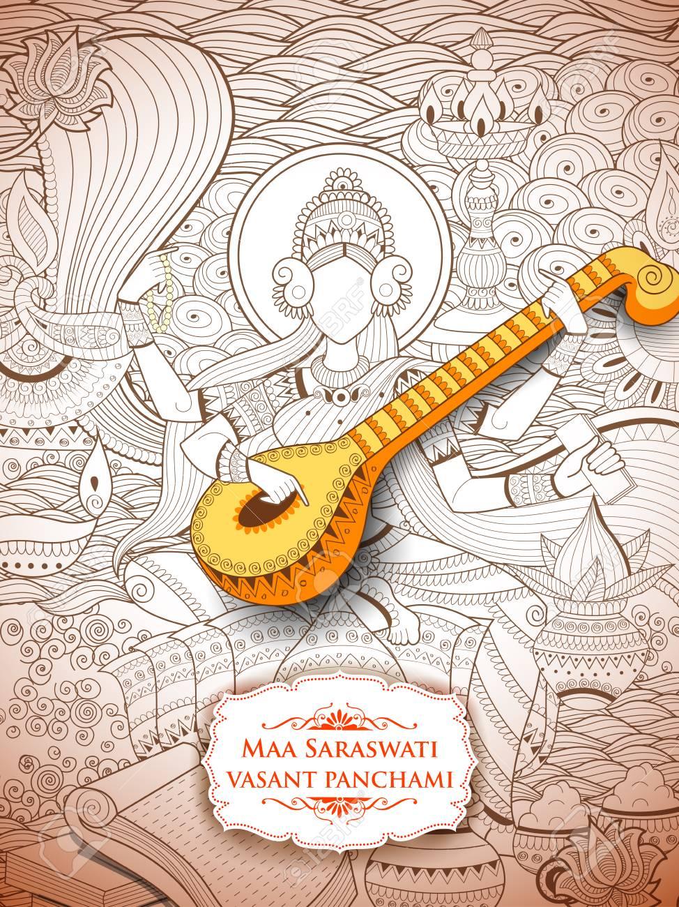 Goddess of Wisdom Saraswati for Vasant Panchami India festival background - 93450838