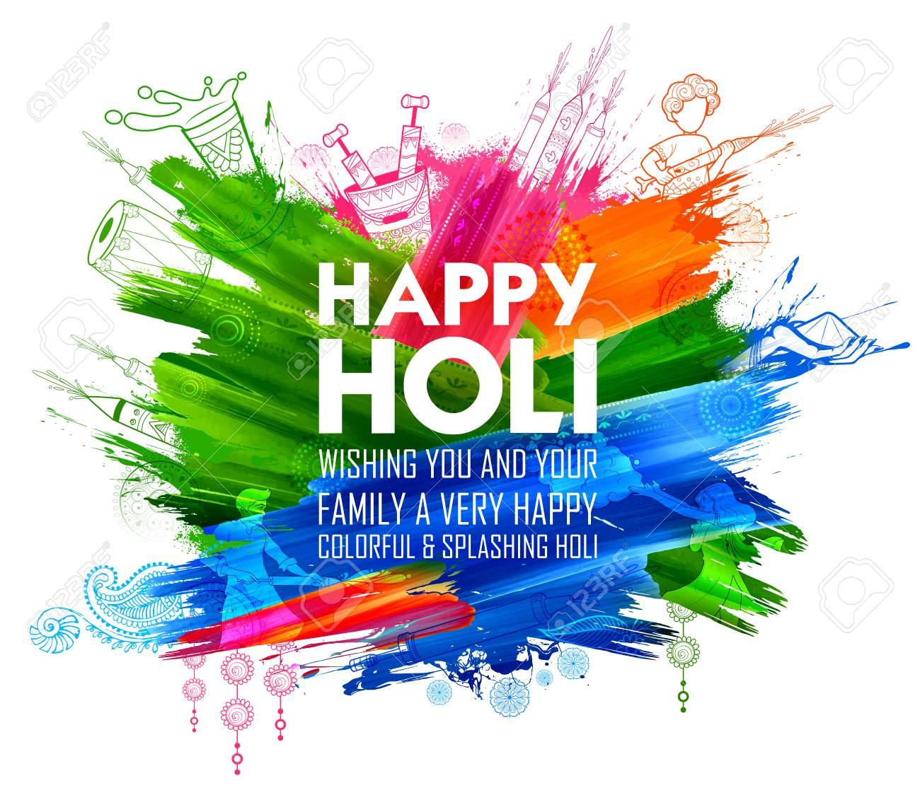 Happy Holi Background for Festival of Colors celebration greetings - 95883763