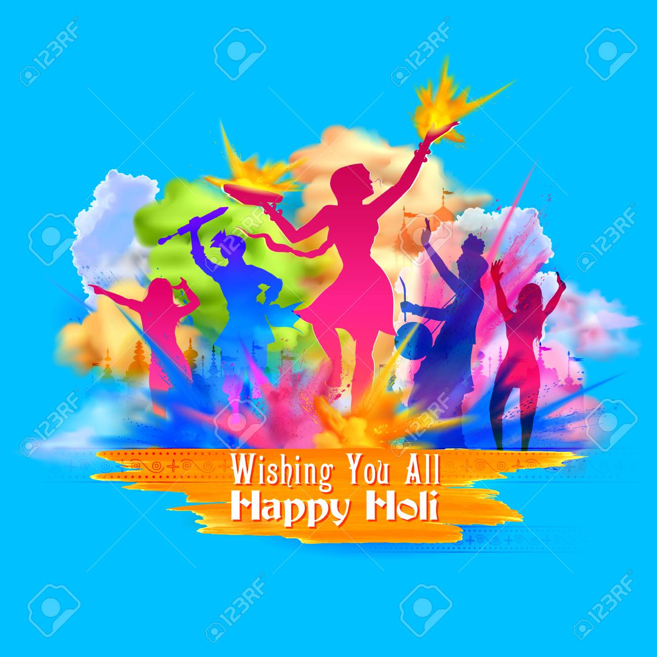 Happy holi background for festival of colors celebration greetings happy holi background for festival of colors celebration greetings stock vector 95883767 kristyandbryce Image collections