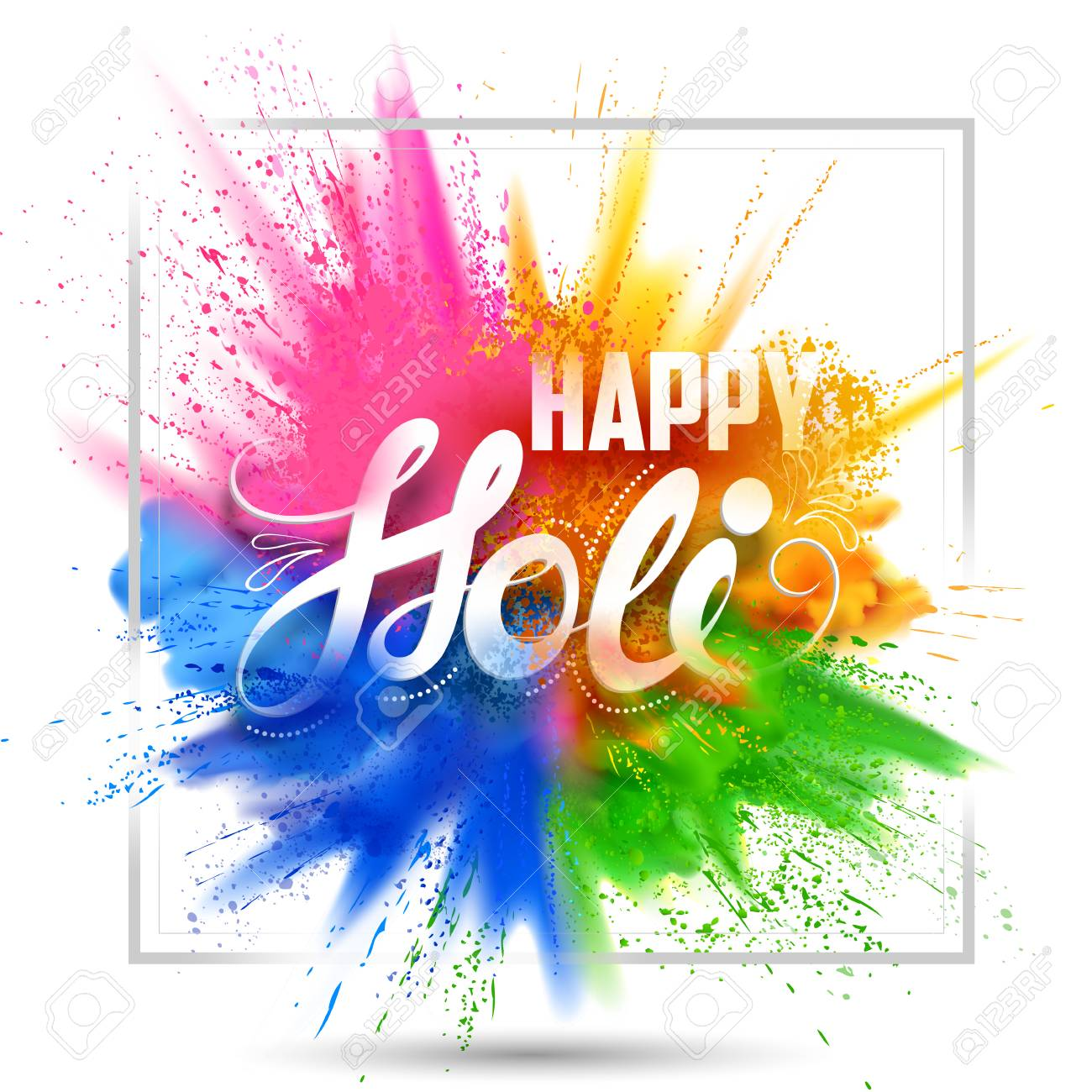 Happy Holi background for color festival of India celebration greetings - 96063263