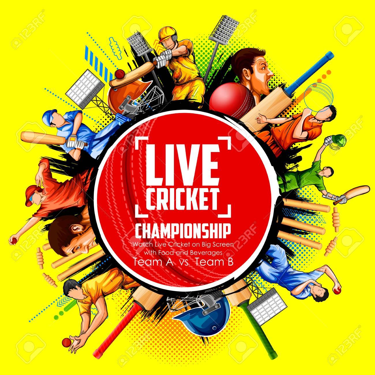 Batsman and bowler playing cricket championship sports Vector illustration. - 97621977