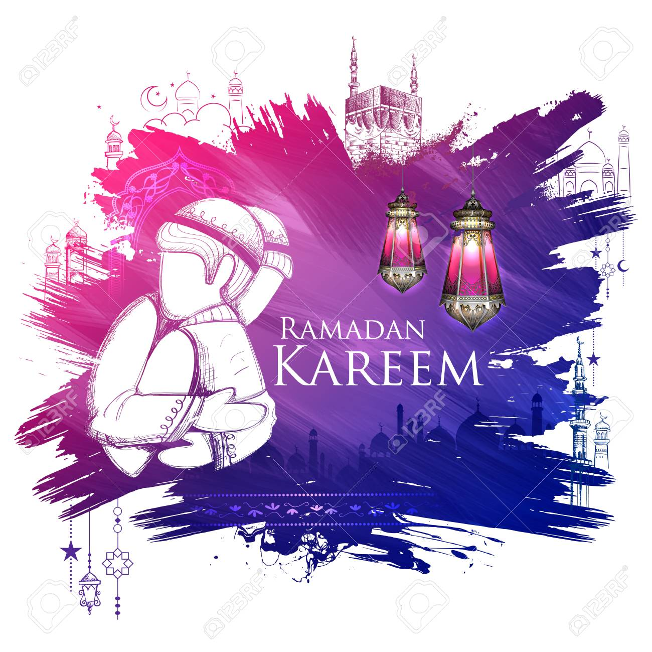 Illustration of ramadan kareem generous ramadan greetings for illustration of ramadan kareem generous ramadan greetings for islam religious festival eid with freehand sketch mecca m4hsunfo