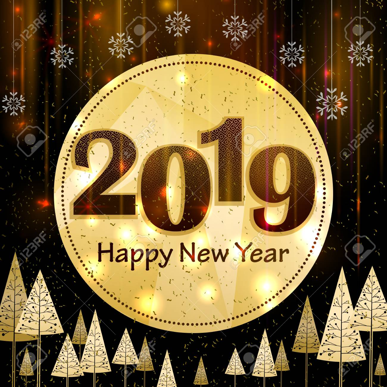 Happy New Year 2019 Wishes Greeting Card Template Background Royalty Free Cliparts Vectors And Stock Illustration Image 112303925